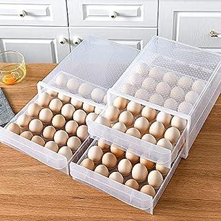 Boîte de rangement à œufs à 60 compartiments, double couche de tiroir transparent, récipient à œufs pour réfrigérateur et ...