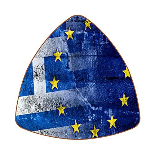 6 uds Posavasos de café de Triángulo Posavasos de Barra Resistentes al Calor Copa para el hogar o la Barra Grecia y Bandera de la Unión Europea