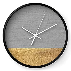 Society6 Color Blocked Gold & Grey by Caitlin Workman on Wall Clock - Black - White