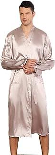 Mandaartins Mens Long Kimono Bathrobes Robes Satin Silk Pure Colour Loose Dressing Gowns Nightwear with Sash Belt-sliver_S