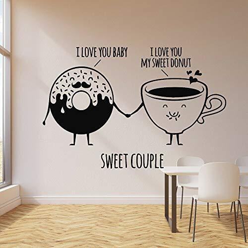 Pegatina de pared de vinilo con cita de dulces para tienda de dulces, taza de rosquilla, adecuada para niñas, niños, niños