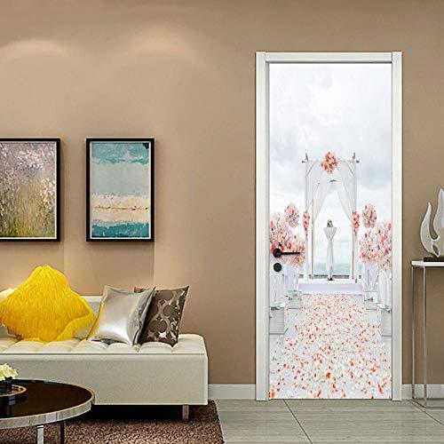 DNFurniture Pegatinas De Puerta 3D Pétalos De Boda Románticos Blancos 77X200Cm Diy Extraíble Para Puertas Interiores Murales Autoadhesivos Papel Tapiz Para Habitaciones Habitaciones Decoración