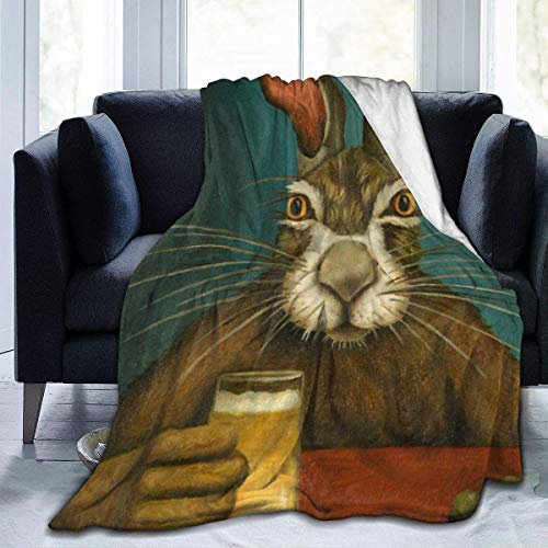 Allures Bunny Hops Throw Blanket Soft Flannel Fleece Blanket for Couch,Bed,Sofa,Chair Office,Travel,Camping,Modern Decorative Warm Blanket60*50