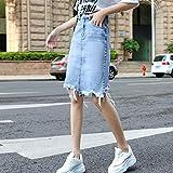 DER - Falda de mezclilla para mujer (caoba) Azul azul 40