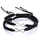 RINHOO 2PC/Set Stainless Steel 8 Infinity Couple Bracelet Braided Leather Rope Bangle Wrist Adjustable Chain Fit 7-9 Inch for Lover Friendship (2PC Black)