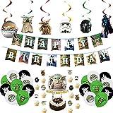 CYSJ Juego de 44 Decoraciones para Fiesta de Yoda de bebé, Suministros de cumpleaños temáticos de Star Wars para niños y bebés, Globos de Yoda,Decoraciones para Fiesta De CumpleañOs