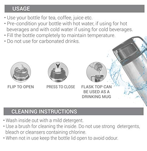 Milton Glassy 350 Thermosteel 24 Hours Hot and Cold Water Bottle with Drinking Cup Lid, (1 Piece) (350 ml) Grey