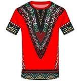YWLINK Hombre Estilo Nacional Moda Impresa Africana Camiseta Manga Corta Camisa Informal Top Blusa Deportes Al Aire Libre Fiesta Actividad Rendimiento(Rojo,L)