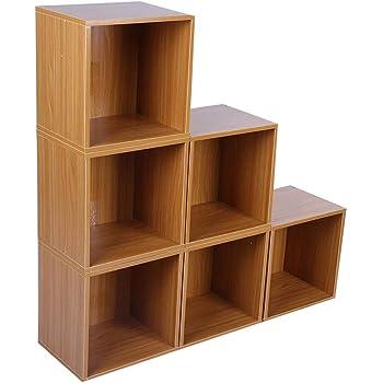 Librería, escaleras, 6 Compartimentos de Cubo, Estante para exposición de Madera, estantería Independiente, 90 x 90 x 24 cm, Color marrón: Amazon.es: Hogar