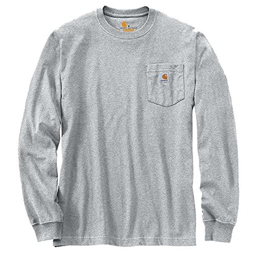 Carhartt Men's K126 Workwear Jersey Pocket Long-Sleeve Shirt (Regular and Big & Tall Sizes), Heather Grey, Large