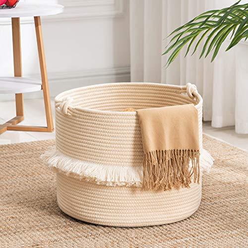 "YOUDENOVA Tassel Basket, Boho Toy Basket for Girl's Room, Small Laundry Basket with Knot Handles, White Woven Rope Living Room Basket, Beige,15.7"" x 13"""