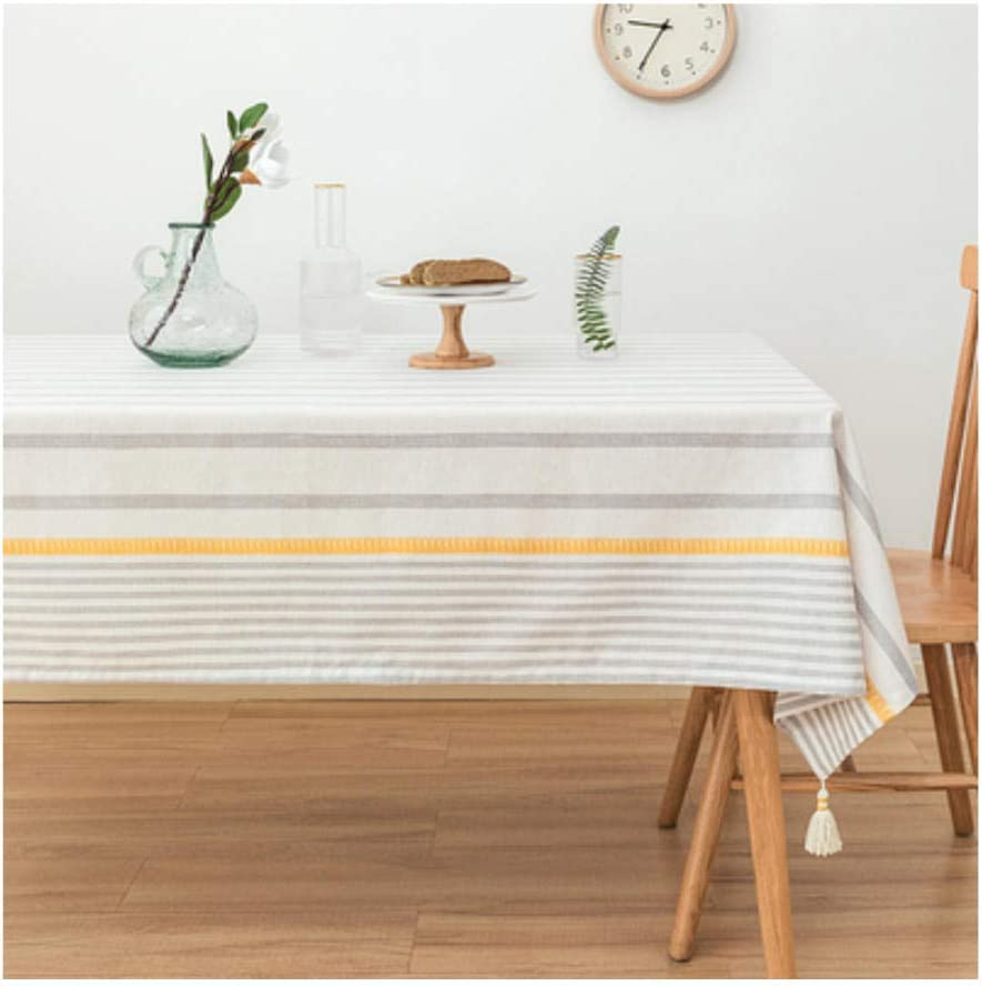 Table Pads Tablecloth Linen Cotton Stripe Max 81% Excellent OFF Cover Fabric Fri
