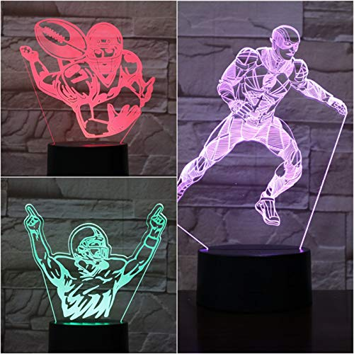 American Football Player Action Figure Fans Sports 3D LED Night Light USB Table Lamp Kids birthday Gift Bedside home decoration