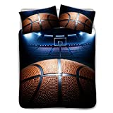 TOADDMOS Basketball Court Bedding Set for Kids Boys Teens,Premium Full Bedding Set (3 Piece) 3D Sports Themed Duvet Cover Sets with 2 Pillow Shams (Beige)