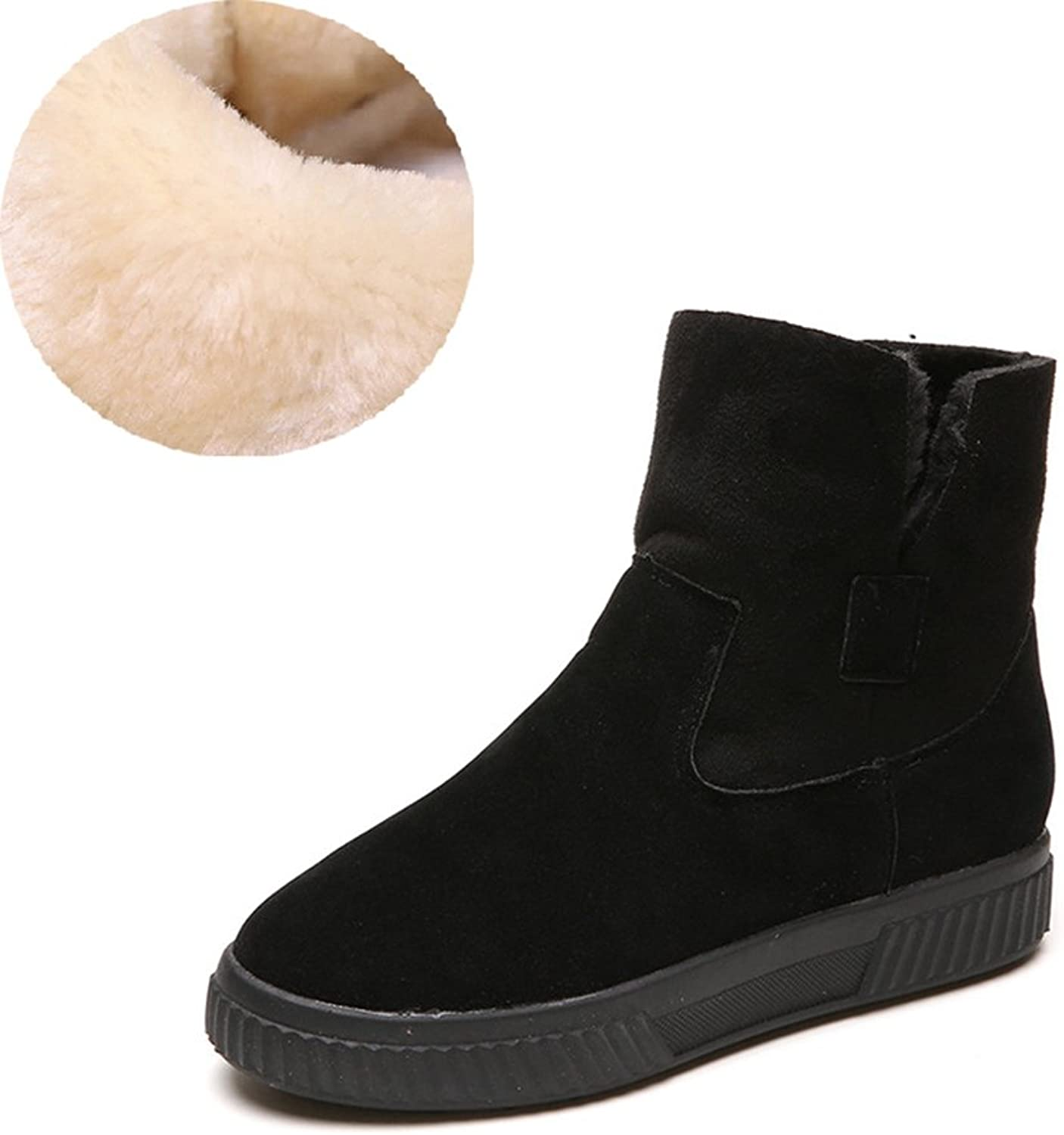 Btrada Winter Womens Warm Thick Fur Lining Snow Boots-Flat Foldable Casual Ankle Bootie shoes