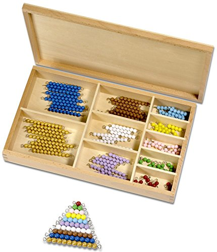 Montessori Perlenmaterial, farbig 1-10, 101-Teile in Holzbox
