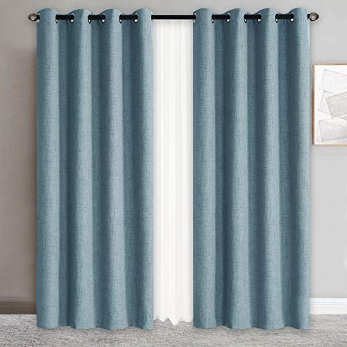 Rose Home Fashion 100% Blackout Curtains for Bedroom Linen Textured Look Drapes with Blackout Liner, Curtains for Living Room/Farmhouse, Burlap Curtains-Set of 2 Panels (50x108 Blue)
