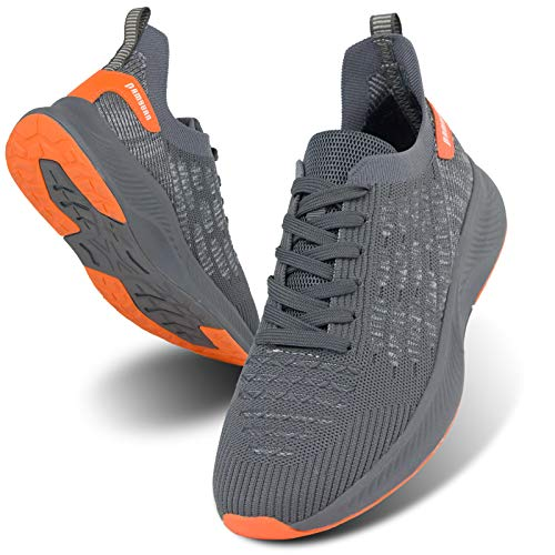 MGNLRTI Herren Straßenlaufschuhe Laufschuhe Sneaker Lässig Sportschuhe Turnschuhe Traillauf Fitness Schuhe für Outdoor Jogging Gym Tennis Walkingschuhe Grau Mode EU42