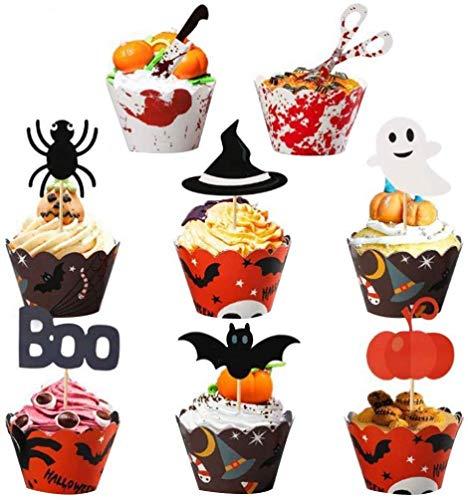 Nakładki na babeczki, 48 sztuk foremek do babeczek Halloween dekoracje do babeczek dla czarodzieja pająka nietoperz dynia zestaw materiałów imprezowych.