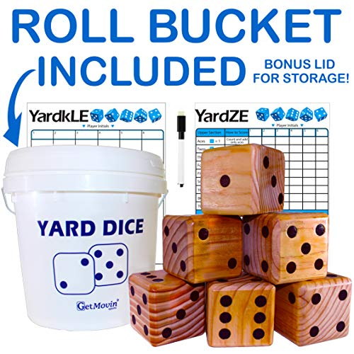 GETMOVIN SPORTS Stained Yardzee and Yard Farkle Dice Set (All Weather) Roll Bucket and Scorecard - Includes 6 Dice, Dry Erase Scorecard W/Marker, Roll Bucket, Lid for Storage (Dark Stain)