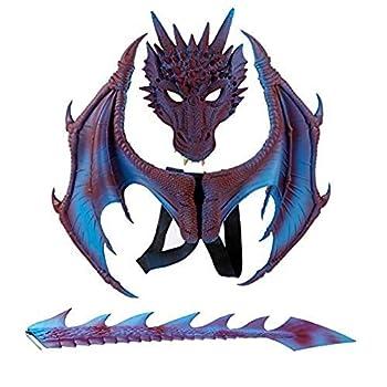 Children s Dragon Wing Costume Dinosaur Tail Mask Set Cosplay Halloween Halloween Party Creative Kid?s Costume  Purple