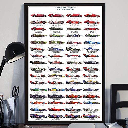 VVSUN Neue Meisterschaft Fahrer F1 Rennwagen Poster Kunst Leinwand Malerei Wandbilder für Wohnzimmer Home Decor 60X90cm 24x36inch Kein Rahmen