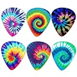KEIAHUAN 6 Pack Guitar Picks Plectrums,Colorful Tie Dye Guitar Pick Classical Triangle 0.96mm Heavy Guitar Pick for Women Girls Beginner Guitar Palyers,Multi