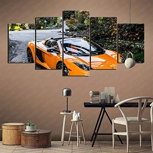 McLaren MP4 12C Supercar Canvas Wall Printed HD 5 Panel Wall Landscaping 100x50cm Frameless