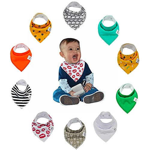 Jeanishiel Baby Bibs 10 Pack Soft and Absorbent for Boys & Girls - Baby Bandana Drool Bibs