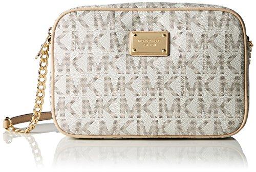 Michael Kors Womens Large Jet Set Travel Messenger Bag Beige (Vanilla)