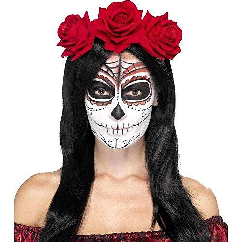 Smiffy'S 27744 Diadema Del Día De Muertos Con Rosas Rojas, Rojo, Tama