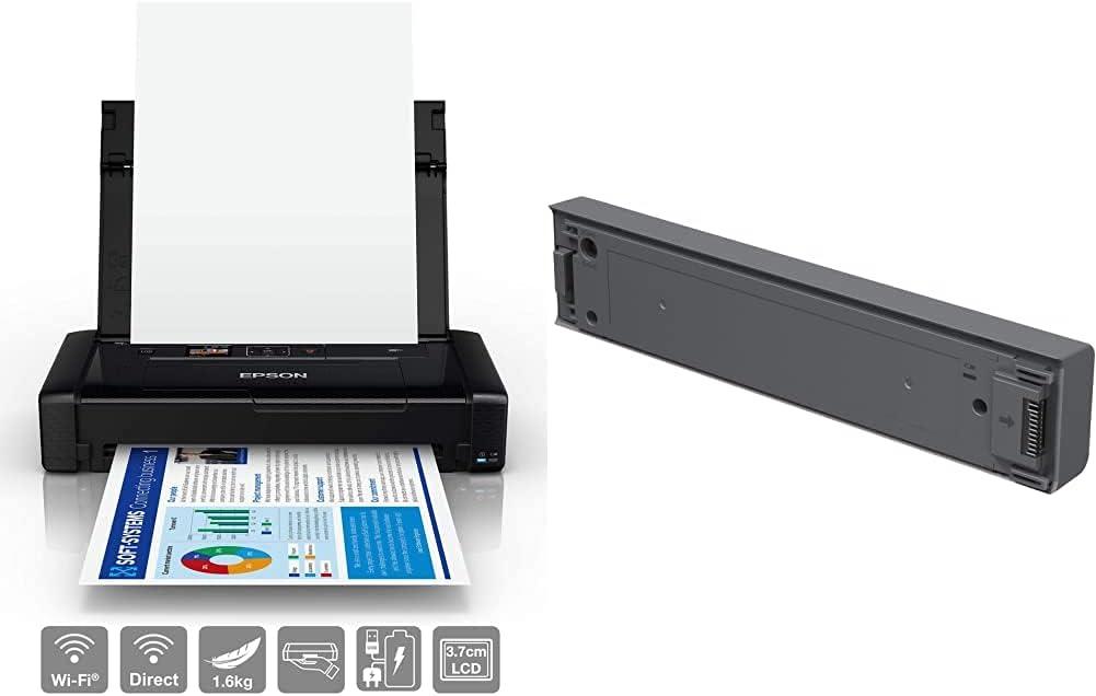 Epson Workforce WF-110, Impresora Portátil A4 Inalámbrica con WiFi + Batería Externa