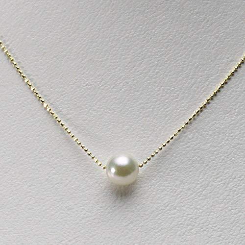 8.0mmアコヤ真珠パールペンダント(ナチュラルホワイト)K18YGレディース[ギフトラッピング済み]