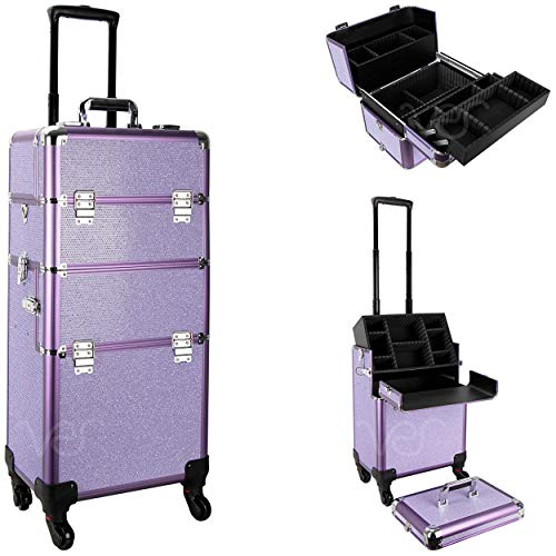 Ver Beauty Professional Rolling Makeup Case, Heavy Duty Hair Stylist & Makeup Artist Travel Case with Easy Slide and Extendable Trays, Purple Krystal, VT002-48