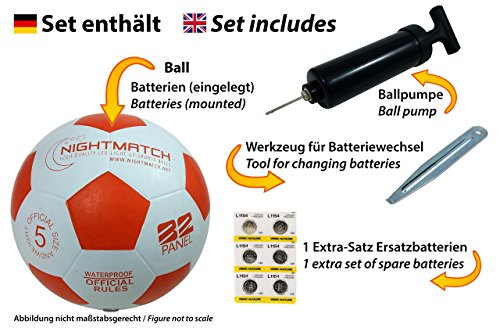 NIGHTMATCH Light Up Football INCL. BALL PUMP and SPARE BATTERIES - Inside LED lights up when kicked - Glow in the Dark Soccer Ball - Size 5 - Official Size & Weight white/orange