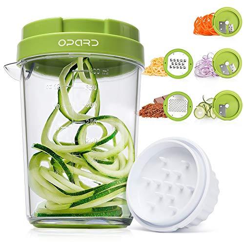 Opard Spiralschneider 5 in 1 Gemüsespaghetti Gemüse Gemüseschneider, Gemüsehobel für Karotte, Gurke, Kartoffel, Zucchini, Zwiebel, Kürbis
