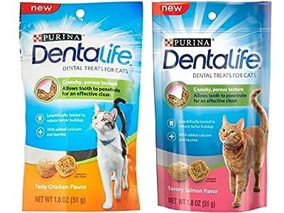 Purina Dentalife Dental Treats For Cats Bundle; Savory Salmon And Tasty Chicken