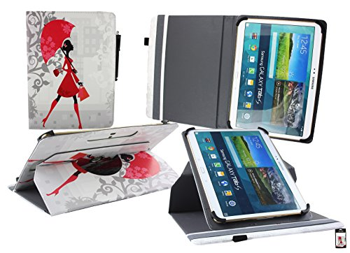 emartbuy Medion LifeTab P9701 9.7 Zoll Tablet PC Universal (9-10 Zoll) Elegante Dame 360GradRotierendeStandFolioGeldbörseTascheHülle + Eingabestift