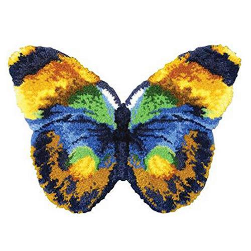 WYOUTDOOR Fai da Te Hook Fermo Kit Tappeto Farfalla Crochet Filati Needlework Latch Hook Unfinished Uncinetto rug Filati Cuscino Ricamato Carpet Set,Butterfly 52 * 38 cm