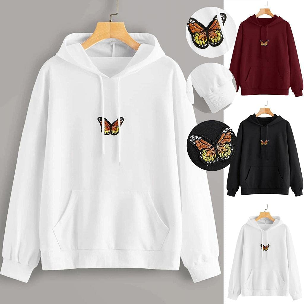 ONHUON Hoodies for Women,Womens Hoodie Sweatshirts Tunic Tops Long Sleeve Butterfly Printed Drawstring Pullover Shirts