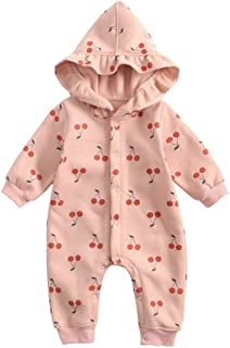 Fairy Baby Newborn Baby Girls Outfit Romper Floral Jumpsuit Hooded Fleece Outwear