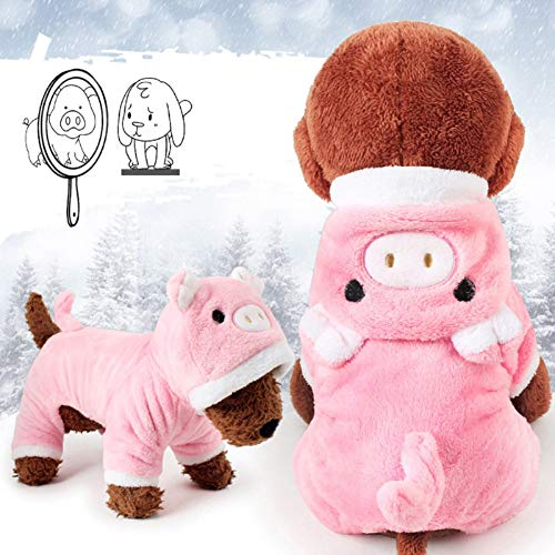 Meihejia Cute Small Dog Sweater Pink Pig Puppy Clothes Costume Warm Winter Coat with Hat - Only for Small Dogs and Puppies