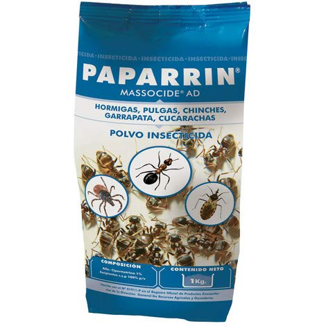 2 x1Kg MASSOCIDE Polvo insecticida contra Hormigas, pulgas, chinches, garrapatas y cucarachas