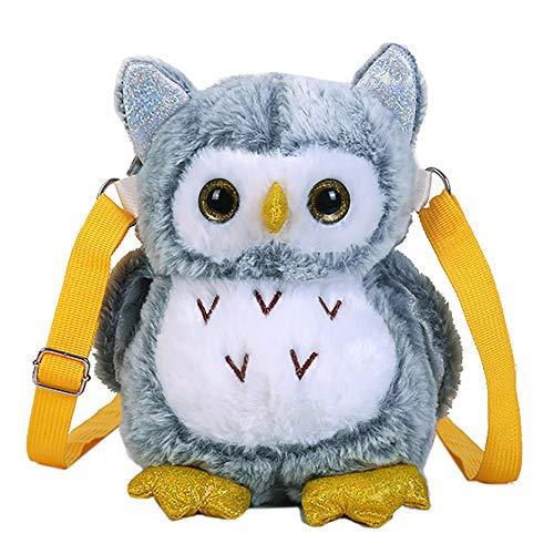 JUMISEE Plush Cartoon Owl Fox Crossbody Bag Stuffed Animal Shoulder Handbag Purse for Kids Boys Girls Women