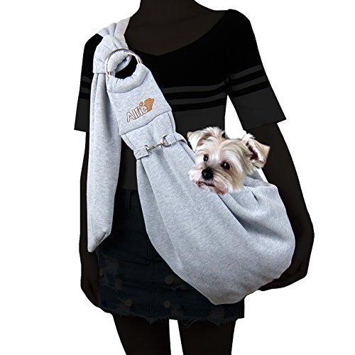 Alfie Pet by Petoga Couture - Chico 2.0 Revisible Pet Sling Carrier with Adjustable Strap - Color Grey and Denim