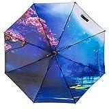 Langchao Sunny Paraguas sombrilla de Vinilo Parasol Protector Solar Estilo Chino Tinta Plegable Arte Antiguo Vista al Lago por la Noche Flor Interior