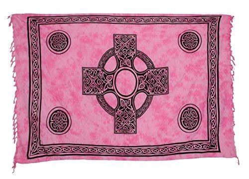Sarong Pareo Wickelrock Strandtuch Tuch Wickeltuch Handtuch - Blickdicht - ca. 170cm x 110cm - Rosa Batik mit Keltischen Motiv Handgefertigt inkl. Kokos Schnalle in Herzform