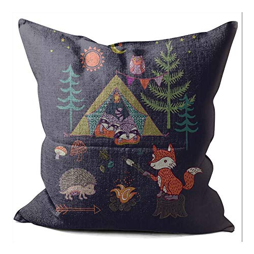 SeNMYlaO WOODLAND FOX CAMPOUT Pattern Pillow Cover Linen Decorative Pillowcases Sofa Cushion Cover for Home Favor 40x40 cm 16x16 Inch A'#003