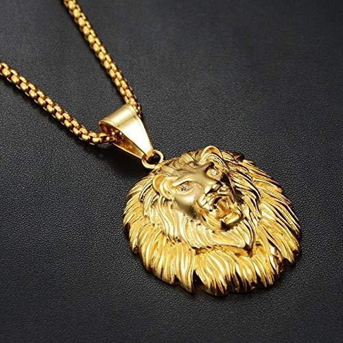 RMYSUM Animal De Pelo Largo Collar con Colgante De Cabeza De León para Hombres Moda Deslizante Animal Colgante Collar Accesorios