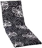 [page_title]-Gartenstuhl Auflage für Gartenliege Silber graue Blüten Hintergrund anthrazit